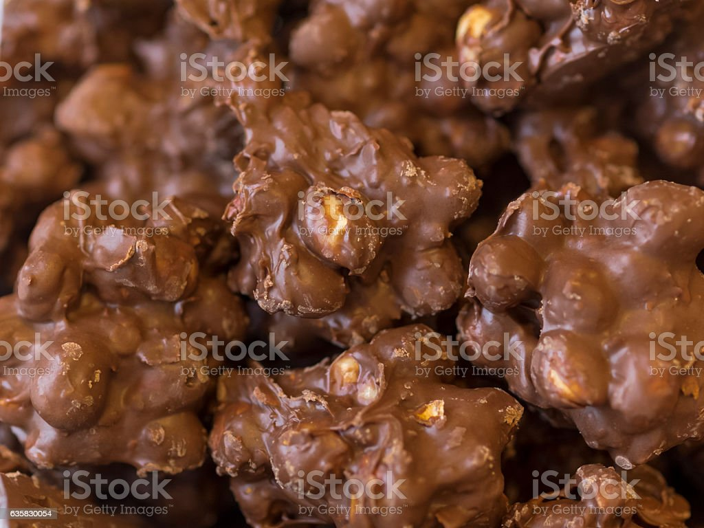 Chocolate Peanut Clusters Cookies Close-up Home Made stock photo