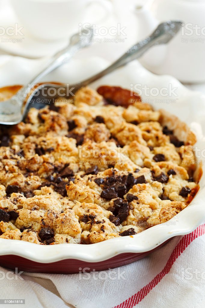 Chocolate pear crumble stock photo