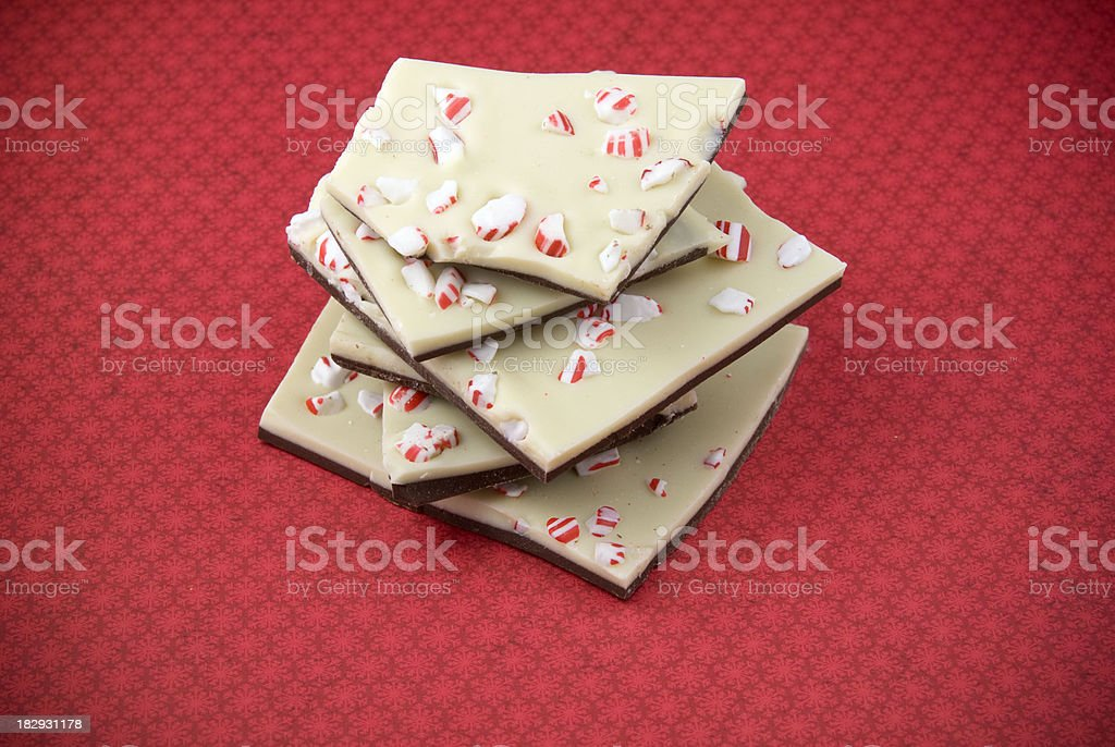 Chocolate Peppermint Bark, Christmas Candy Cane Holiday Dessert Food Background royalty-free stock photo