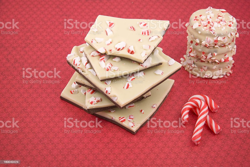 Chocolate Peppermint Bark, Cookies & Candy Canes, Holiday Desserts royalty-free stock photo
