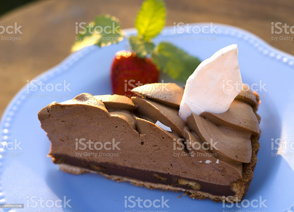 Chocolate Pie, Mousse Cake Dessert & Fresh Strawberry and Mint stock photo