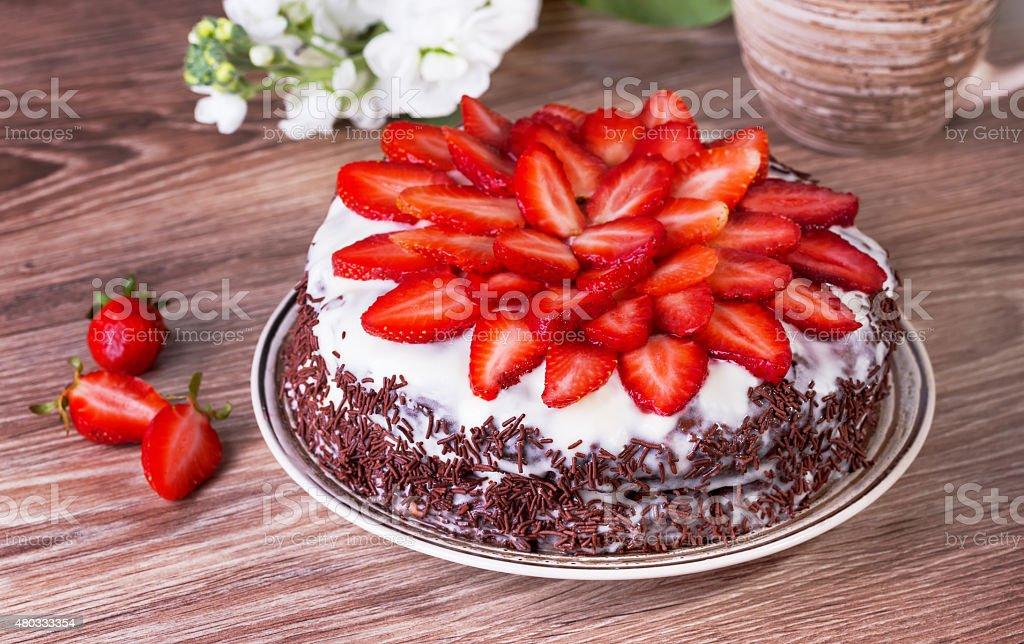 chocolate pie with strawberry stock photo