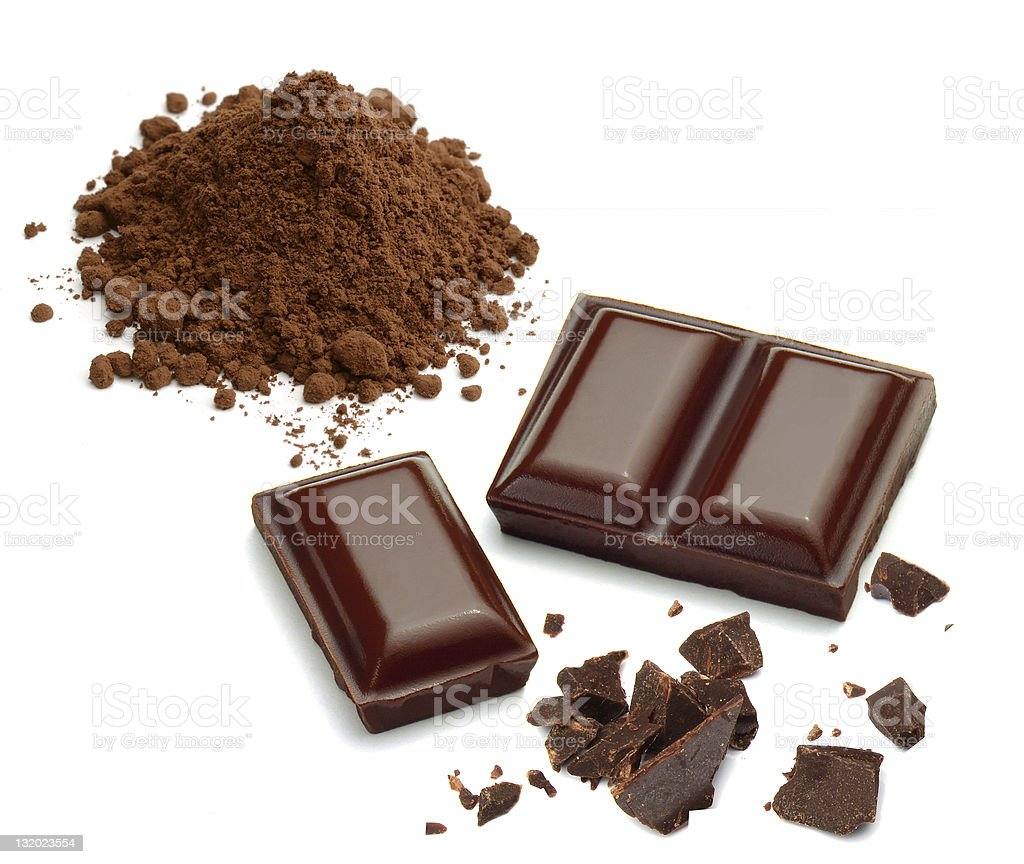 Chocolate pieces and cocoa powder stock photo
