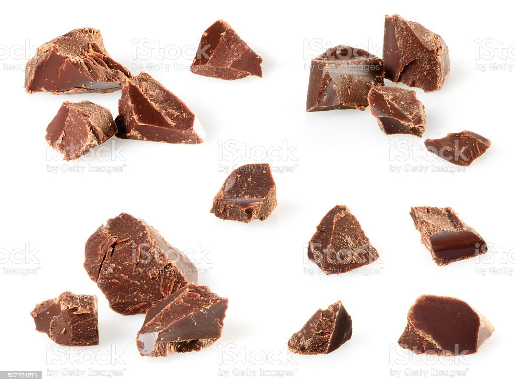Chocolate pieces isolated on white. Collection stock photo