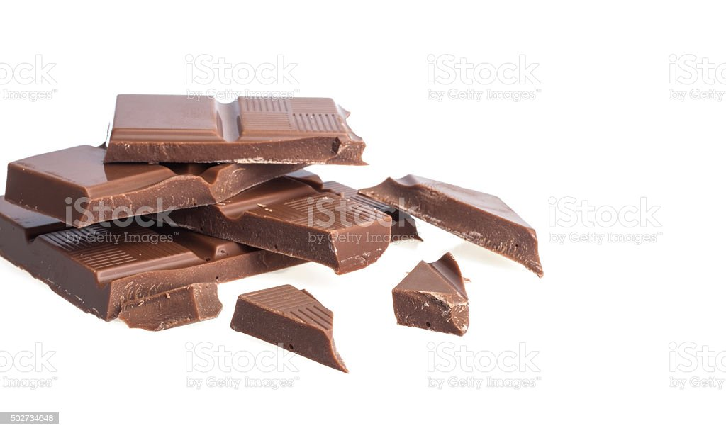 Chocolate pieces on white background stock photo