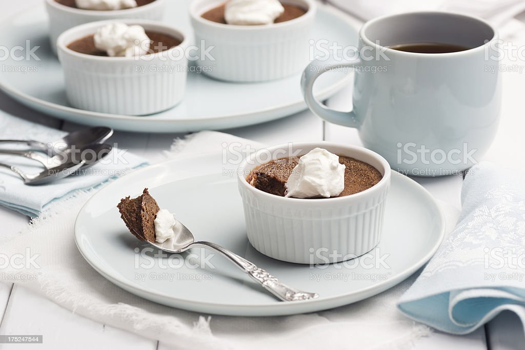 Chocolate Pot de Creme Party with Coffee royalty-free stock photo