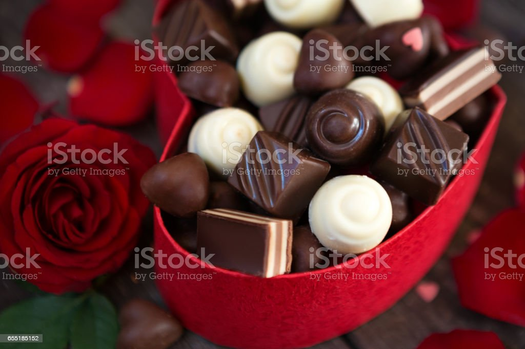 Chocolate pralines in gift box for Mother's Day stock photo