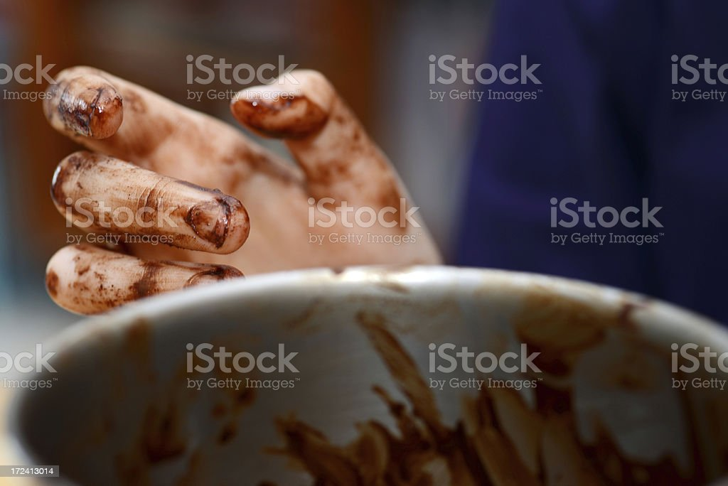 Chocolate preparation - Chef hand royalty-free stock photo