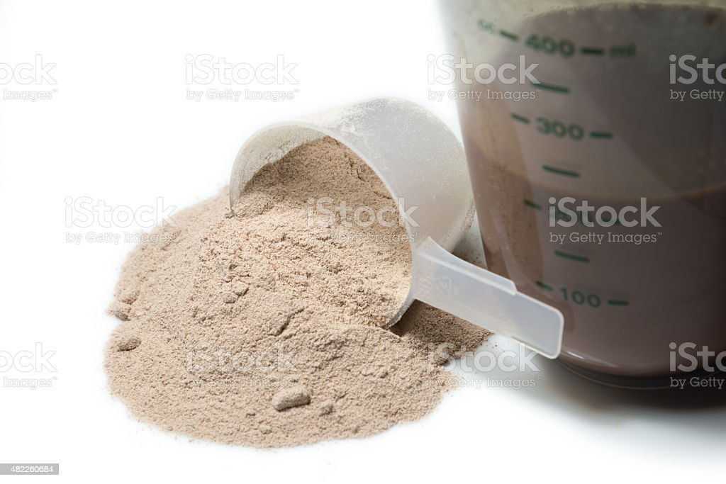 Chocolate protein shake and a scoop stock photo