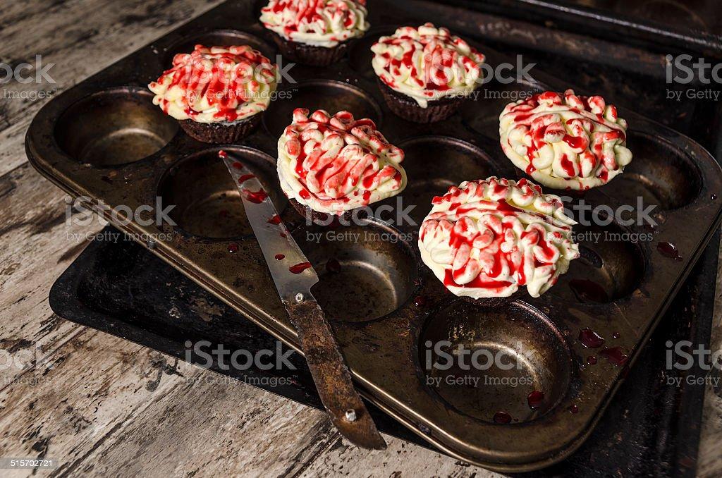 Chocolate pumpkin cupcake, blurred background stock photo