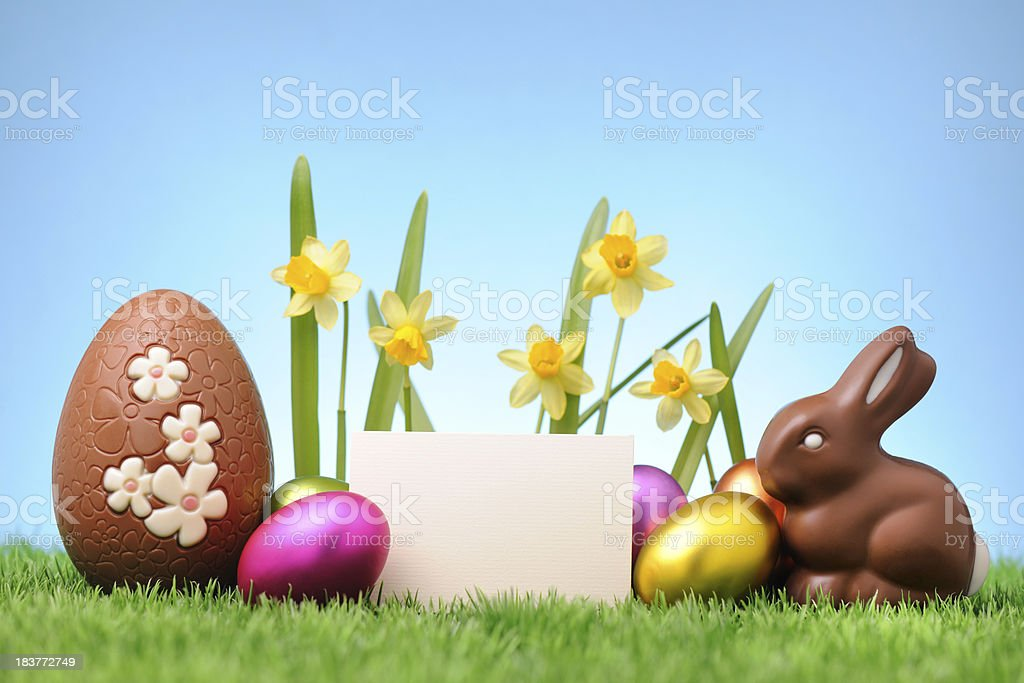 Chocolate rabbit and egg with an empty card stock photo
