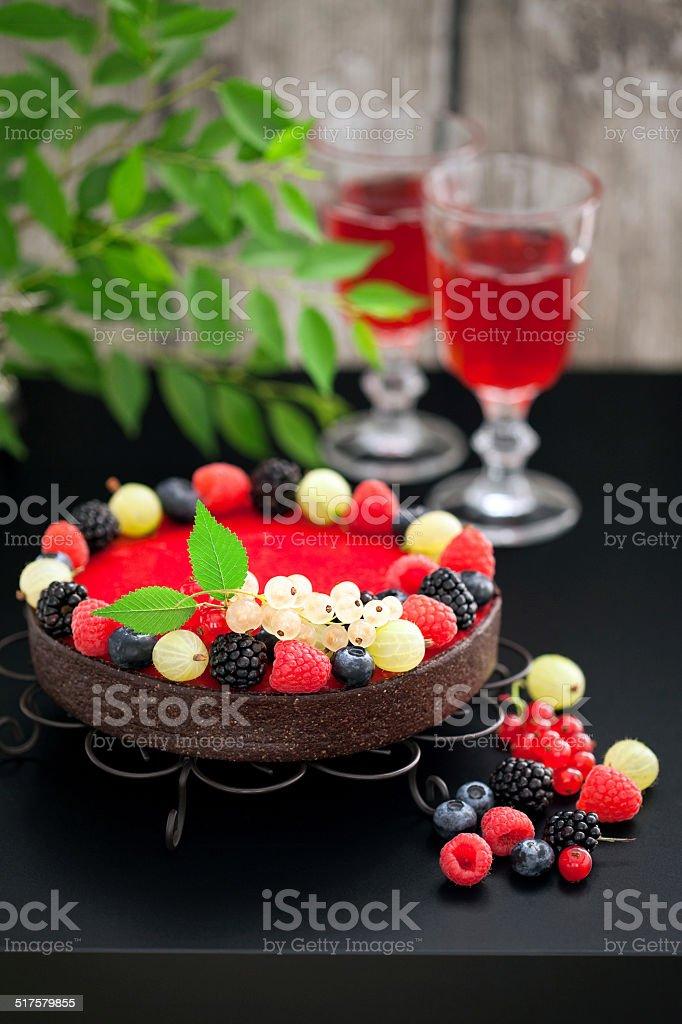 Chocolate raspberry tart stock photo