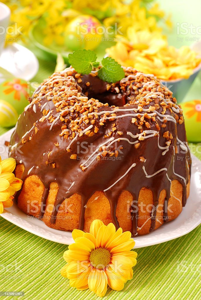 chocolate ring cake for easter royalty-free stock photo
