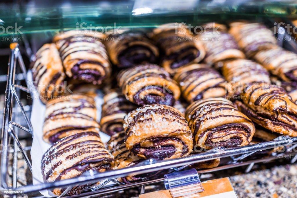 Chocolate roll pastry macro closeup stock photo