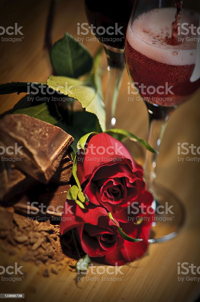 Chocolate, Roses And Dessert Wine royalty-free stock photo