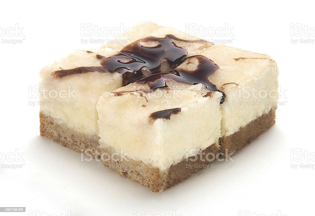 chocolate sauced white cheesecake stock photo