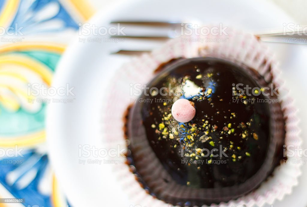 Chocolate Semifreddo with Chopped Pistachio Sprinkles stock photo