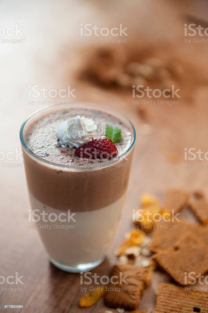 Chocolate shake with whipped cream on top stock photo