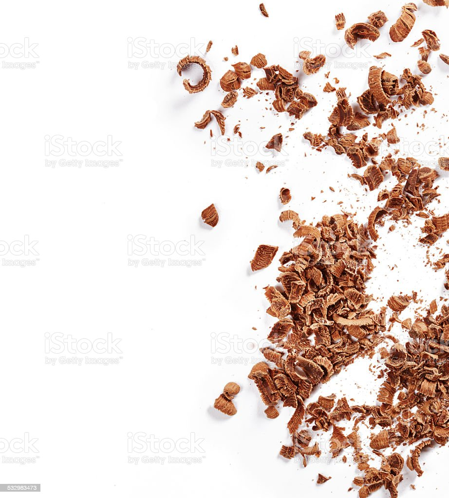 Chocolate shavings stock photo