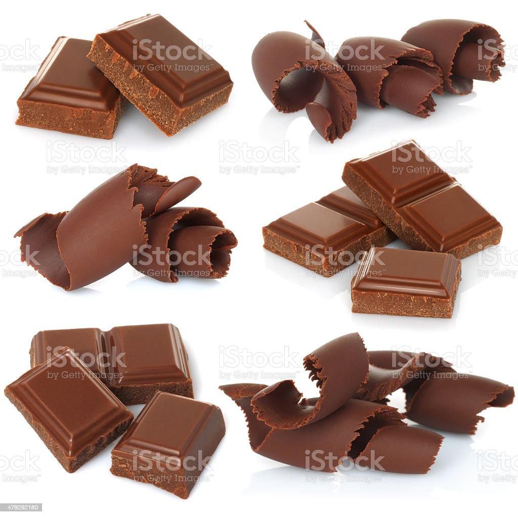 Chocolate shavings with blocks set on white background stock photo