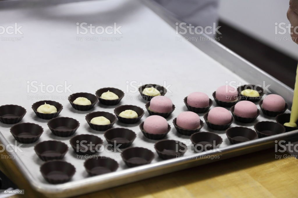 Chocolate shells, pastry cream, berry mousse. stock photo