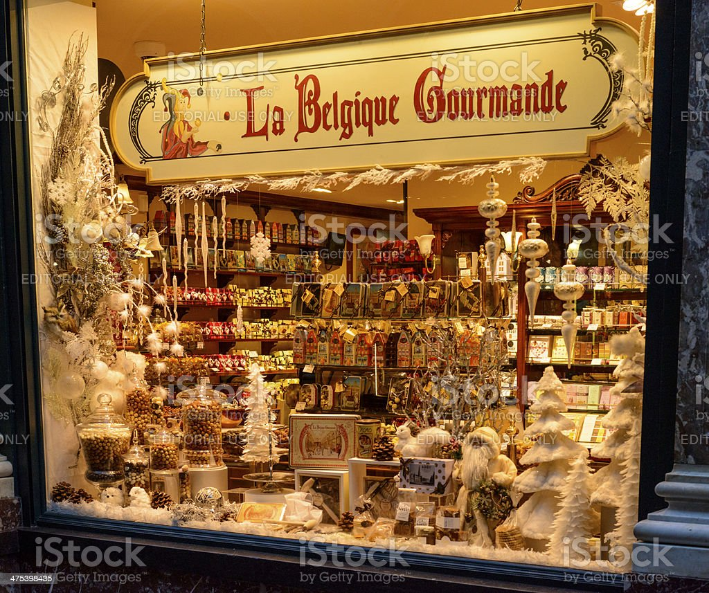 Chocolate shop in Brussels stock photo