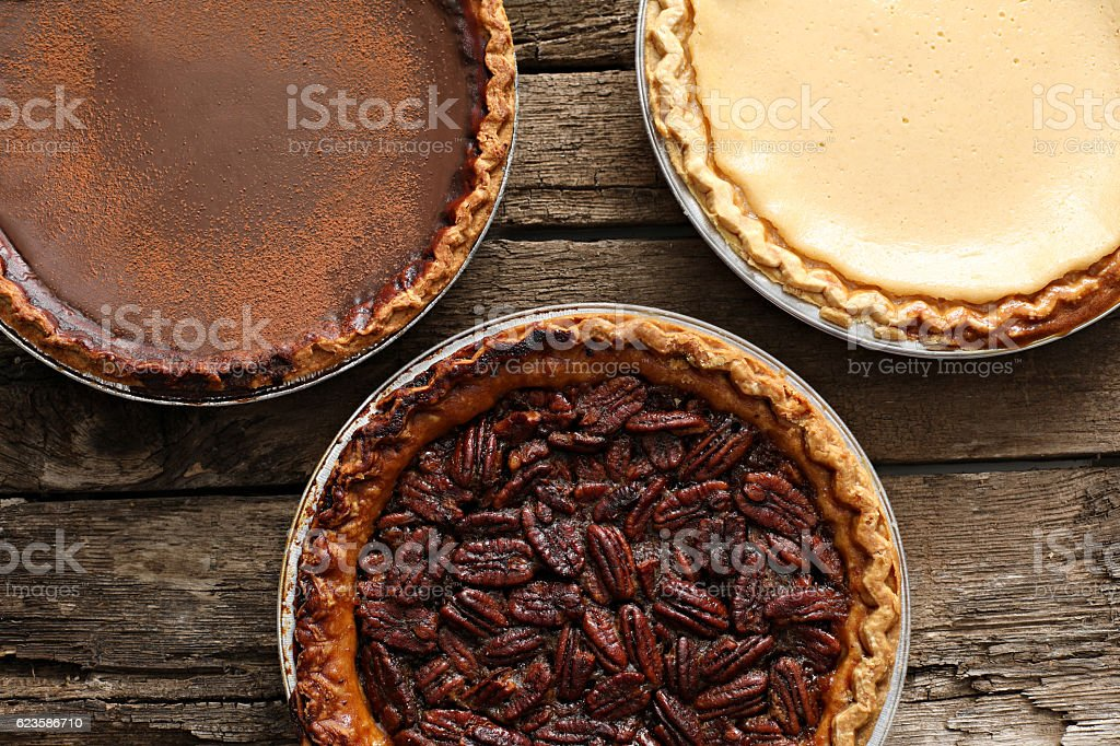Chocolate Silk, Buttermilk Chess And Bourbon Pecan Pies stock photo