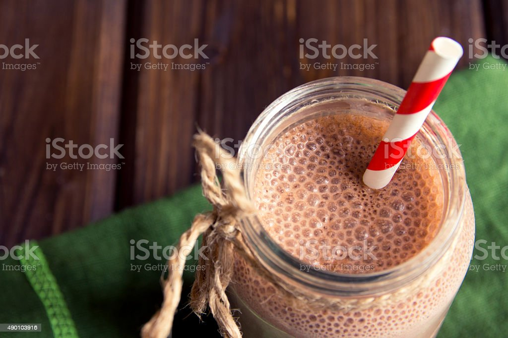 Chocolate smoothie (milkshake) stock photo