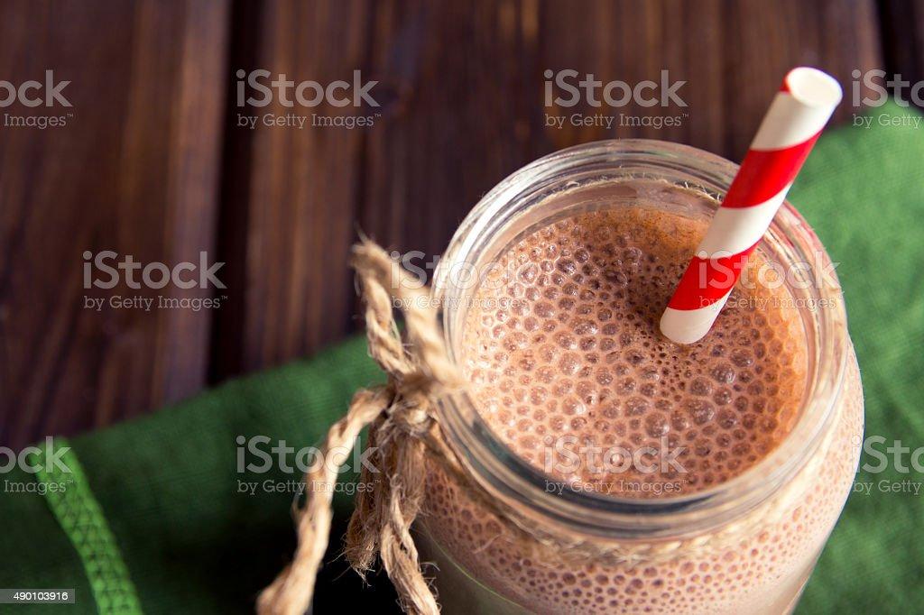 Chocolate smoothie (milkshake) stock photo