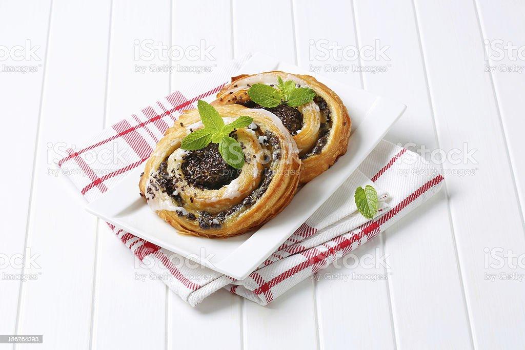 chocolate snail pastries stock photo