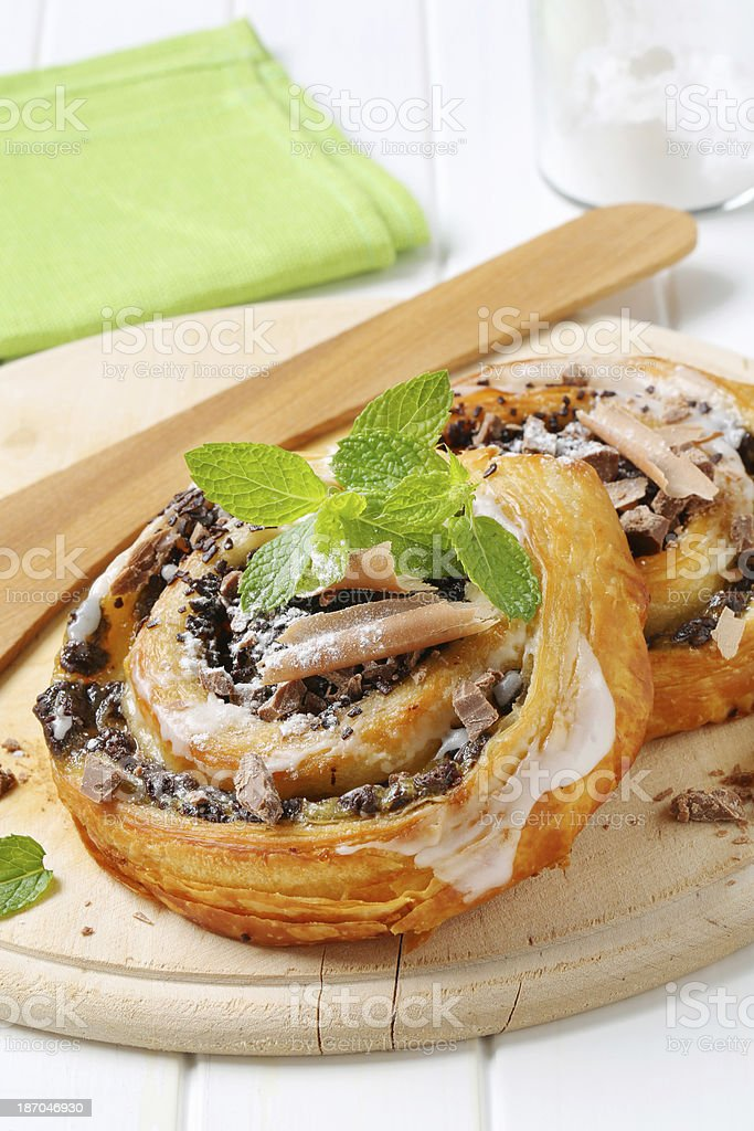 chocolate snail pastries royalty-free stock photo
