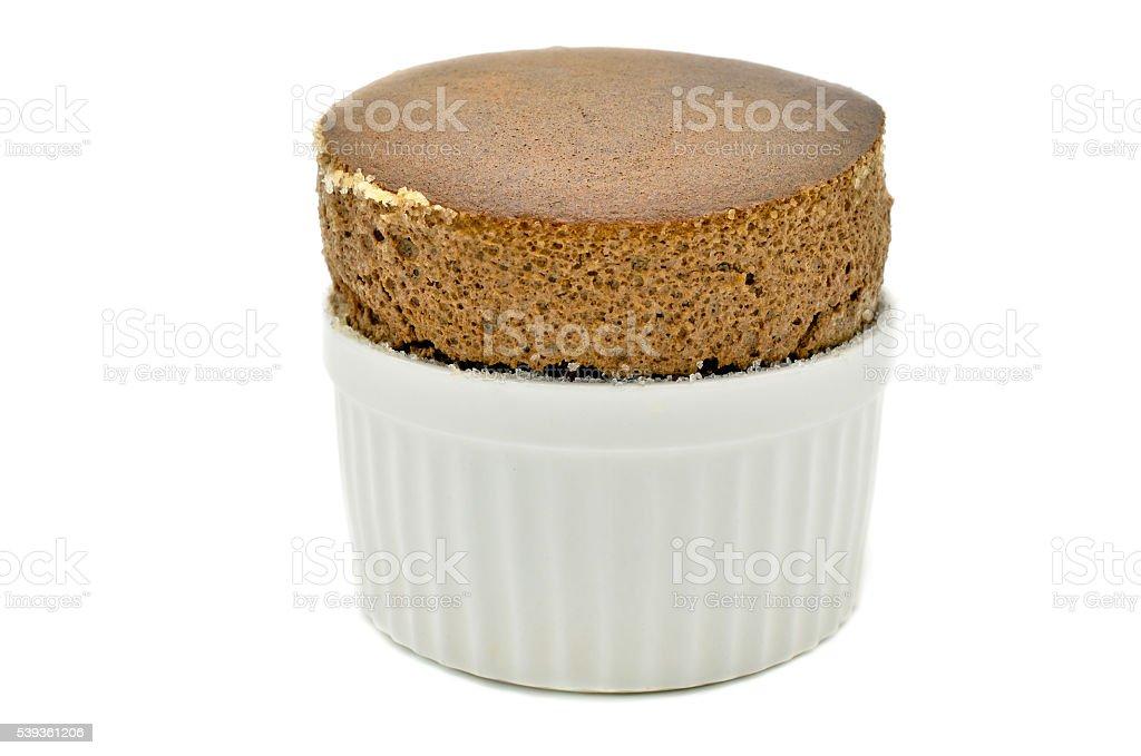 Chocolate souffle in a white ceramic stock photo