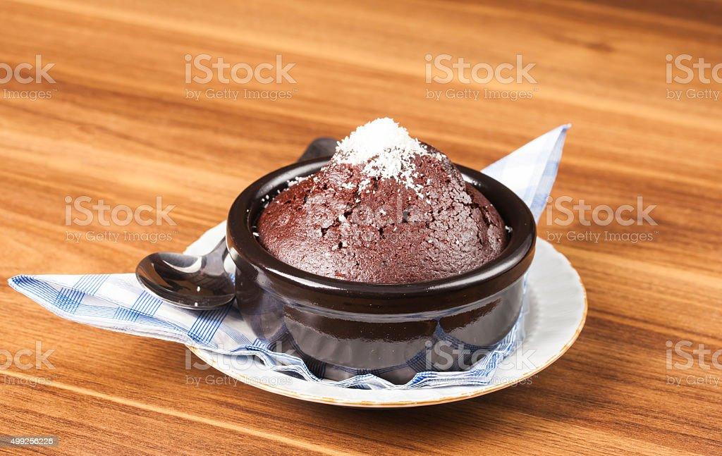 Chocolate Souffle with castor sugar stock photo