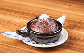 Chocolate Souffle with castor sugar