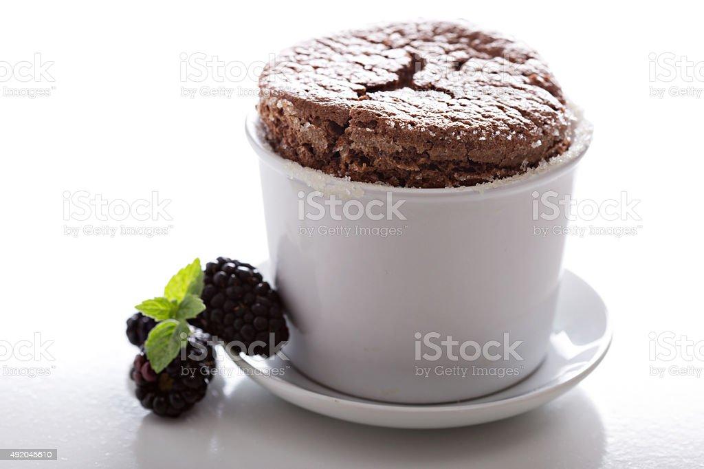 Chocolate souffle with thick glaze stock photo