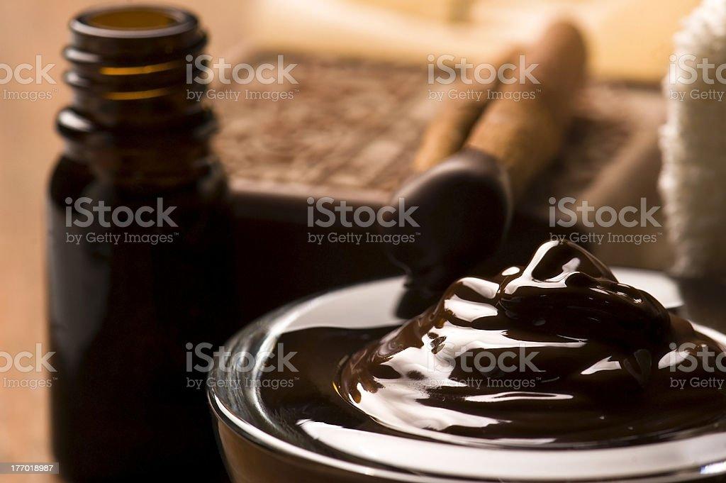 Chocolate spa with cinnamon royalty-free stock photo