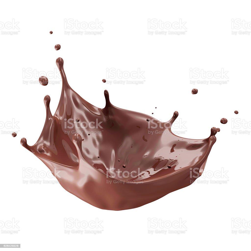 Chocolate Splash isolated on white stock photo