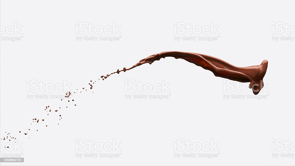 chocolate splash with clipping path stock photo