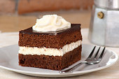 Chocolate Sponge Cake filled with whipped cream. Cream Pie.