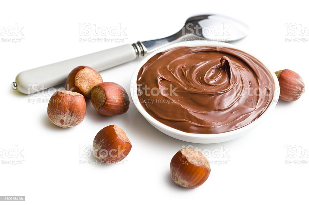 chocolate spread in bowl stock photo