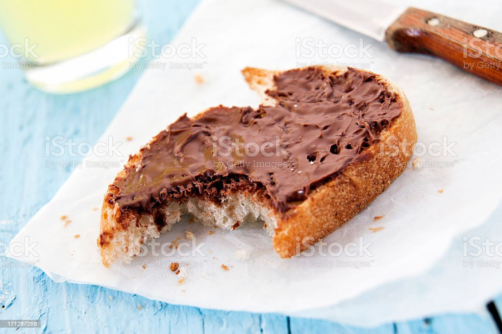 Chocolate spread with bite royalty-free stock photo