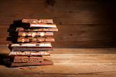 Chocolate stack on wooden background