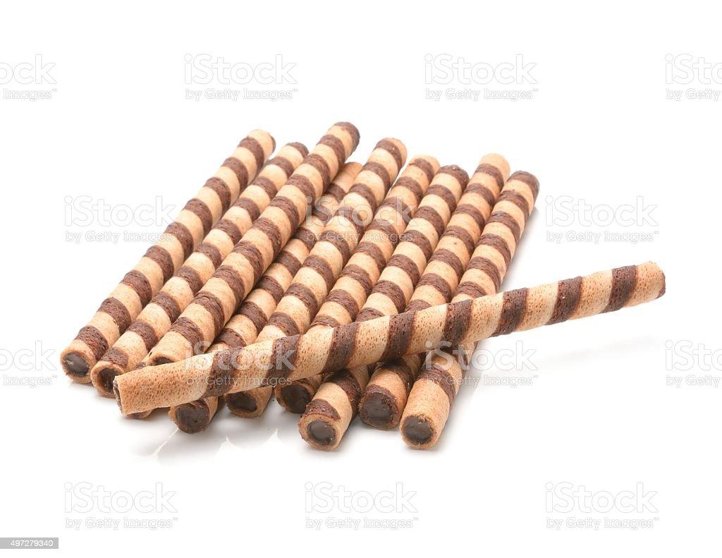 Chocolate sticks isolated on white background stock photo