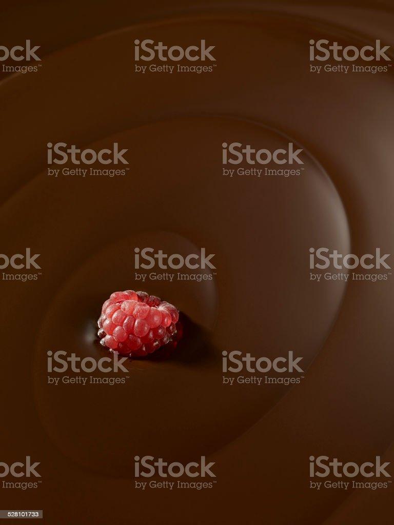 chocolate swirl with raspberry stock photo