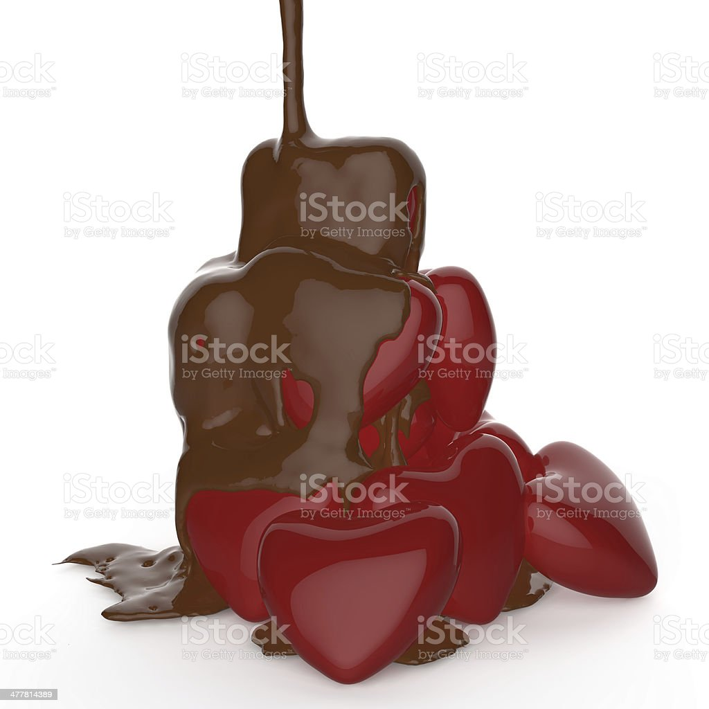 chocolate syrup leaking over heart shape symbol royalty-free stock photo