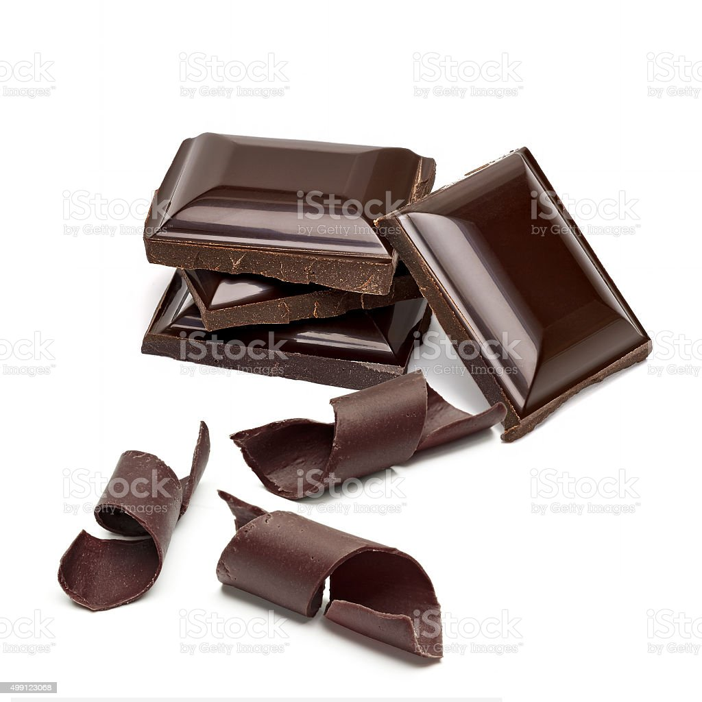 Chocolate tablets with curls stock photo