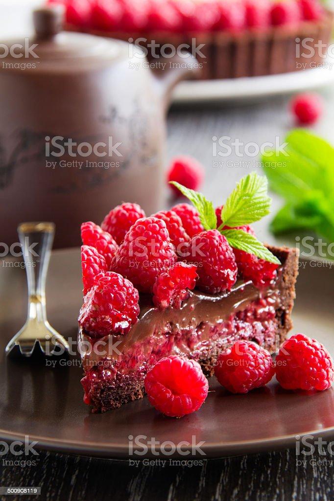 Chocolate tart with fresh raspberries. royalty-free stock photo