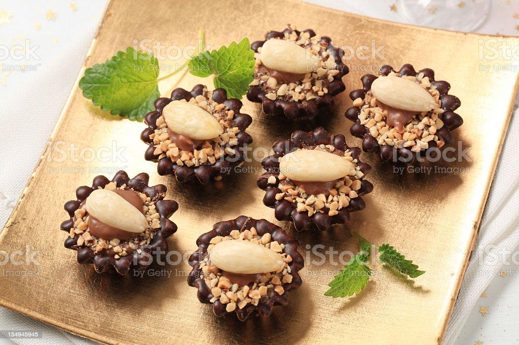 Chocolate tartlets stock photo