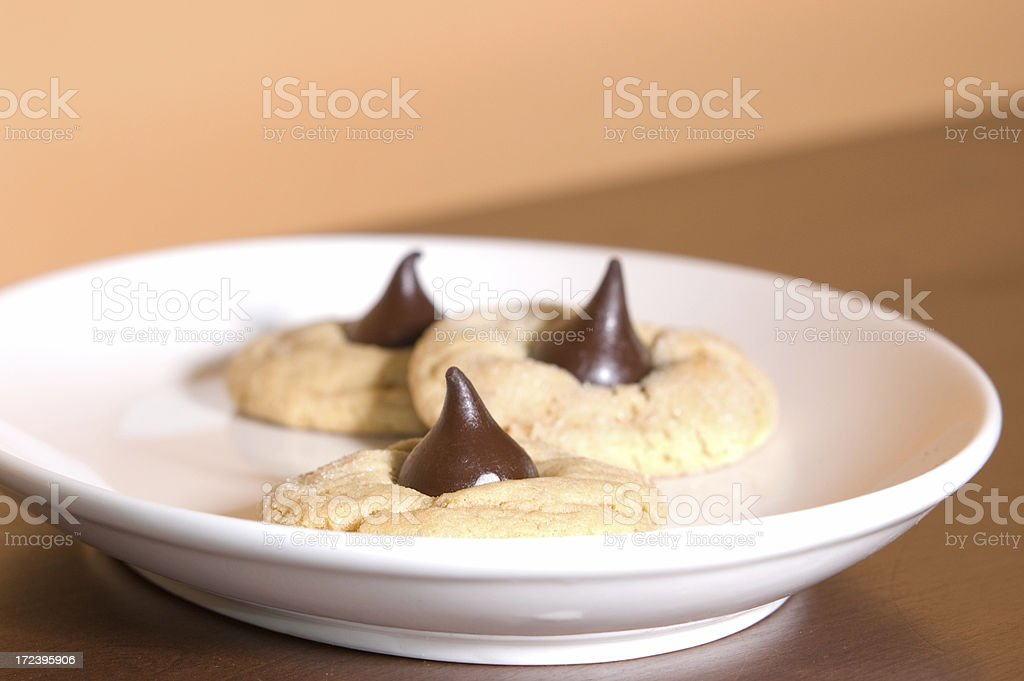 Chocolate Thumb Print Cookies on a plate royalty-free stock photo