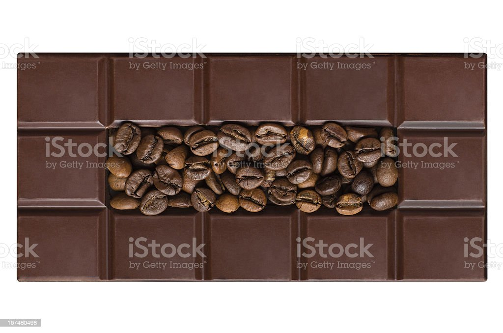 Chocolate tiles, filled with coffee beans royalty-free stock photo